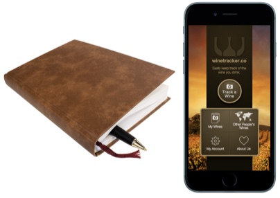 iPhone with Winetracker.co running and analog wine journal