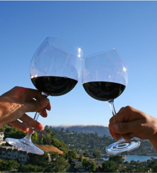 Toasting two wine glasses against the blue sky